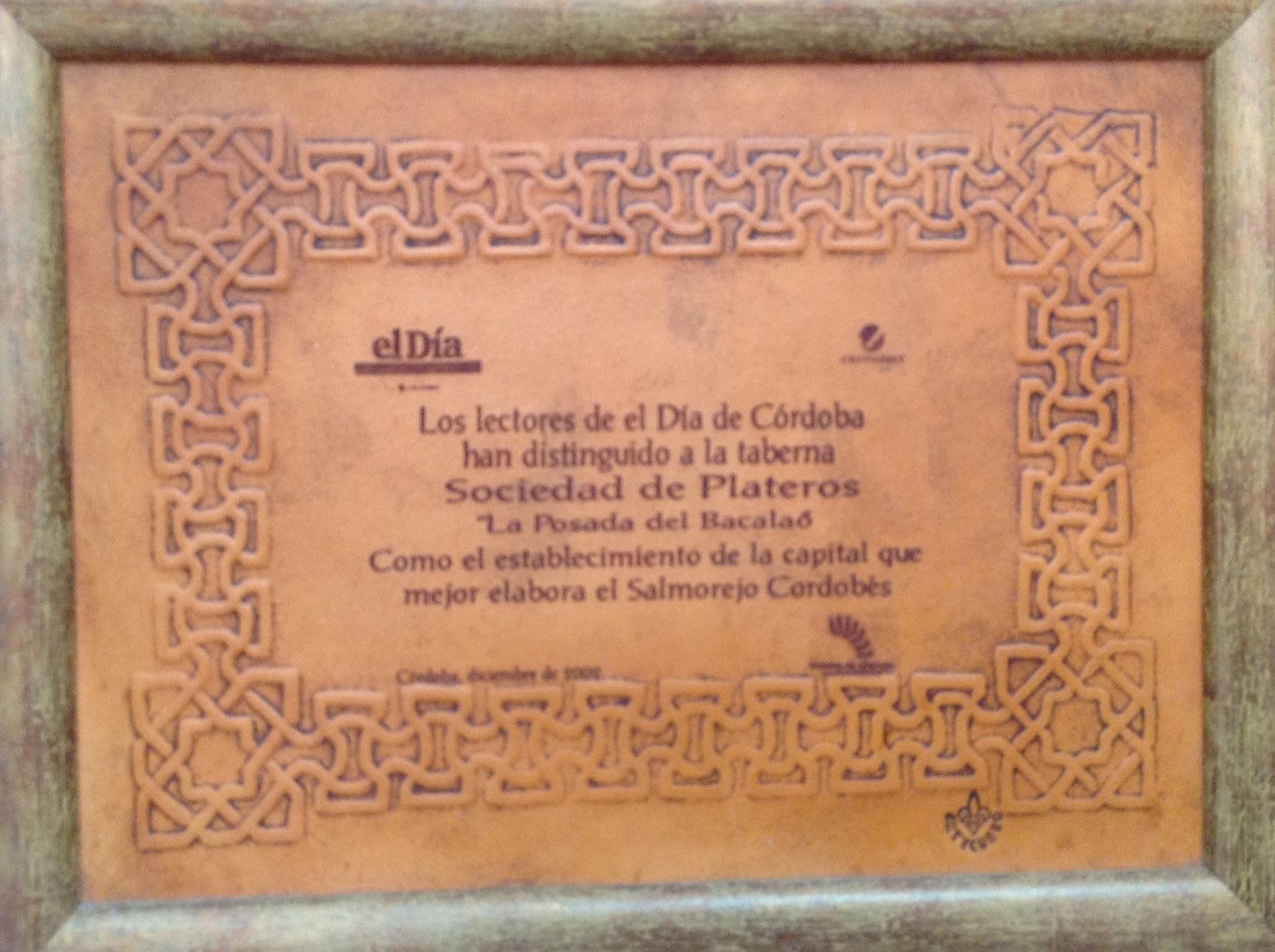 Reconocimiento El Dia al salmorejo del Restaurante Sociedad Plateros María Auxiliadora