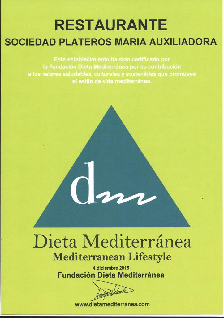 Recibimos el Certificado de la Fundacion Dieta Mediterranea